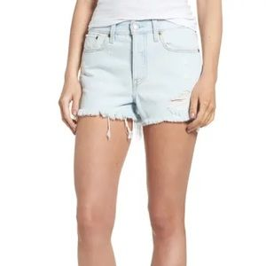 Levi's Distressed Frayed High Rise Wedgie Shorts